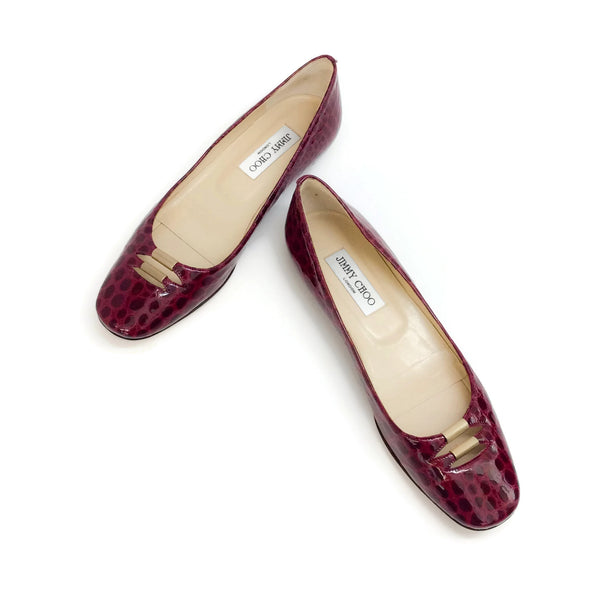 Jimmy Choo Oxblood Embossed Flats