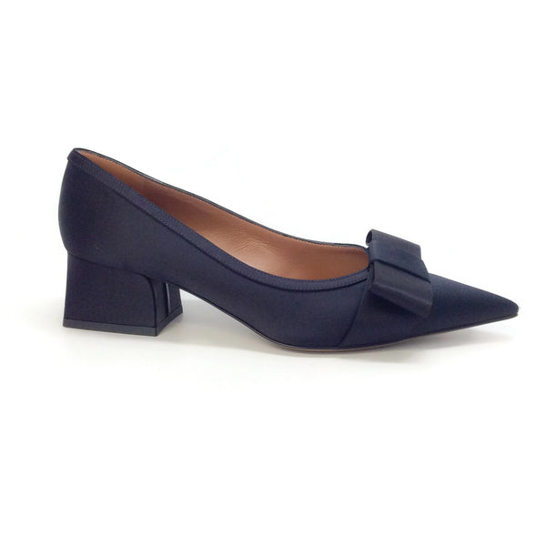 Marni Navy Blue Satin with Bow Pumps