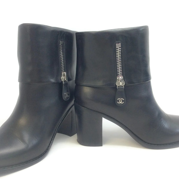 Chanel Black Fold Over Ankle Boots