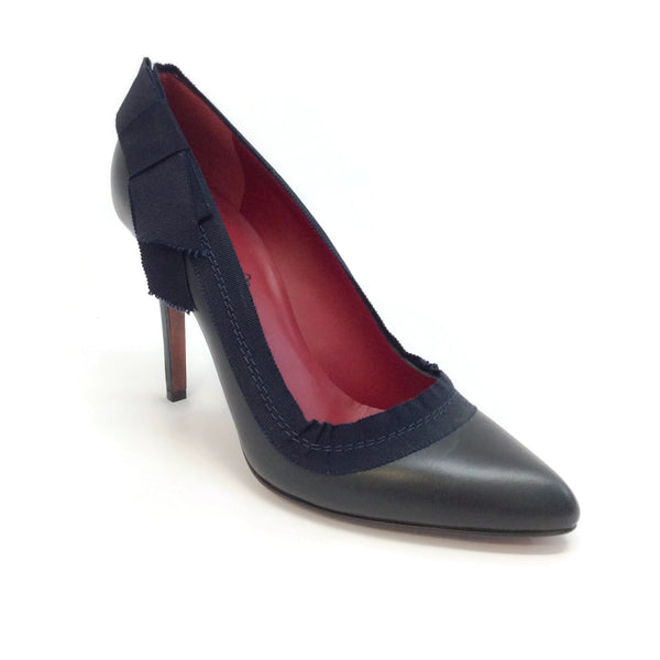 Lanvin Navy Blue Grosgrain Ribbon Pumps