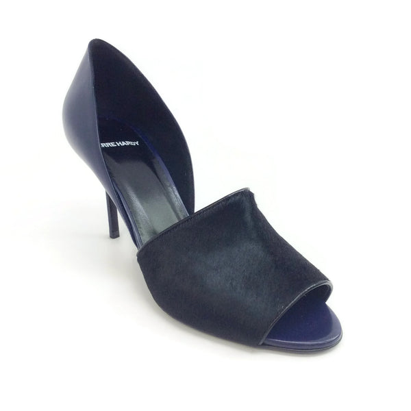 Pierre Hardy Black / Blue Peep Toe Calf Hair Pumps