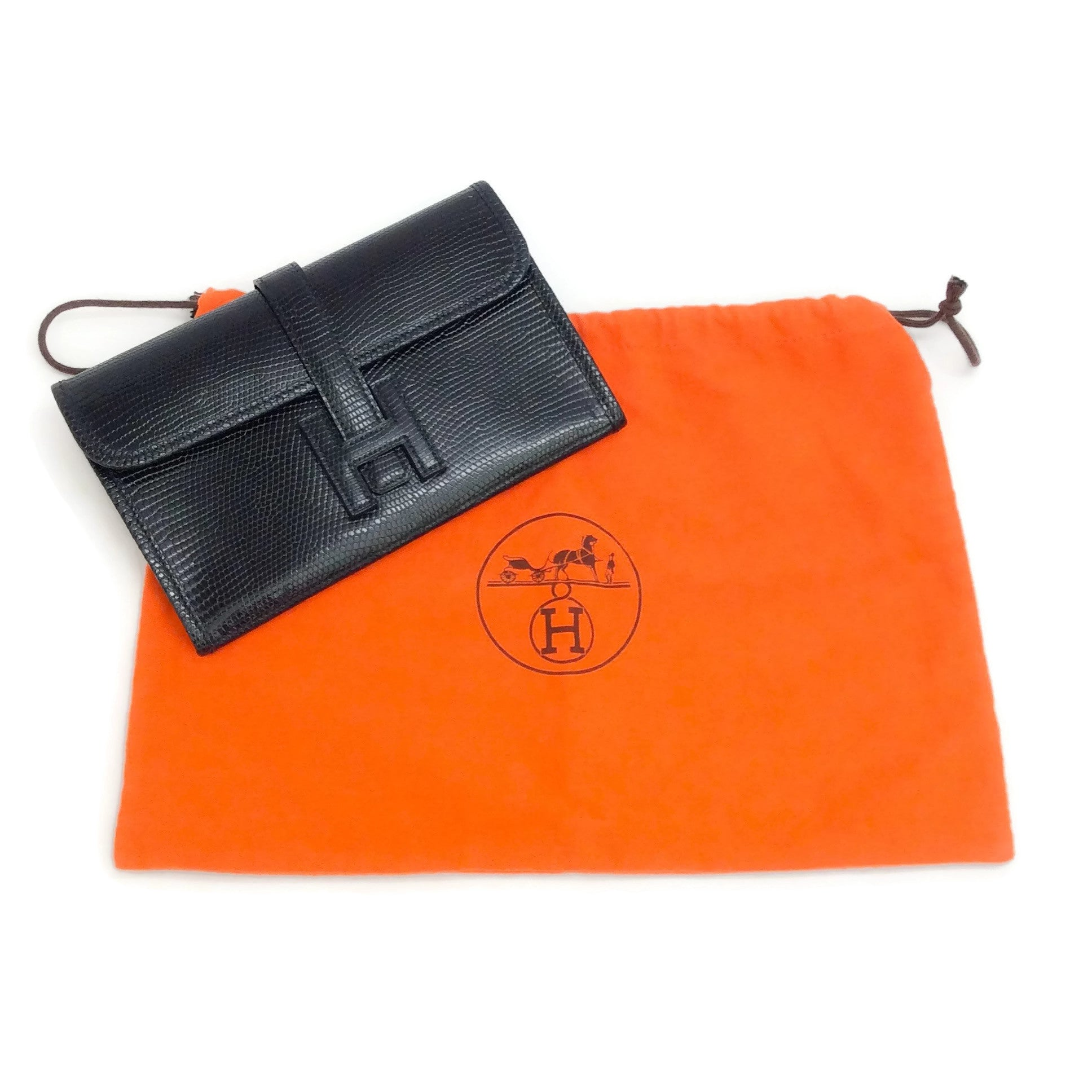 Hermès Jige Black Lizard Clutch