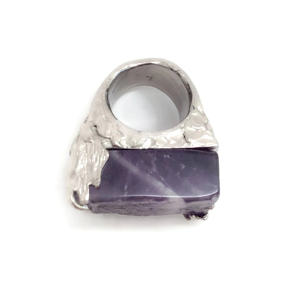 Saint Laurent Amethyst Arty Square Ring