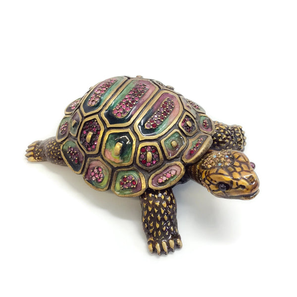 Jay Strongwater Multicolor Galen Pave Shell Turtle Box