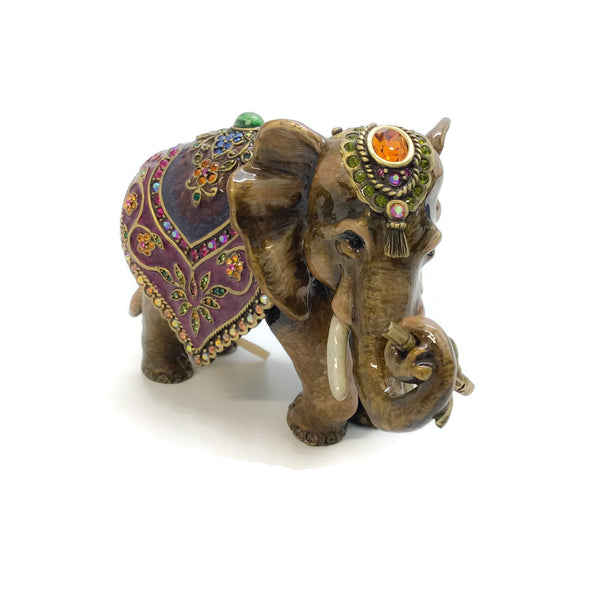 Jay Strongwater Brown / Multi Mother Elephant with Tapestry