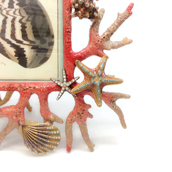 "Jay Strongwater Multicolor Jasper Coral Reef 4"" X 6"" Frame"