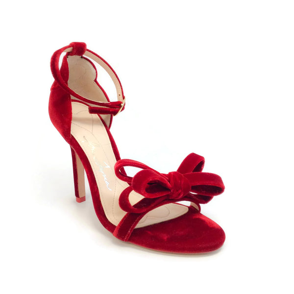 Isa Tapia Red Shelby Bow Accented Sandals