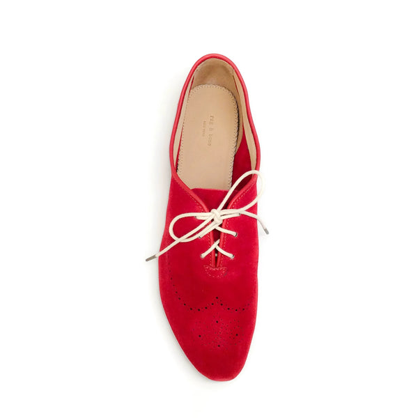 Rag & Bone Red Perforated Suede Oxford Flats