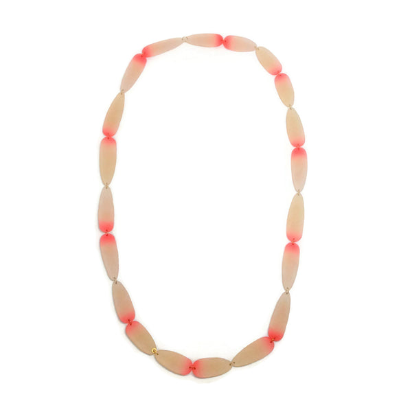 Pink / Ivory Long Resin Necklace