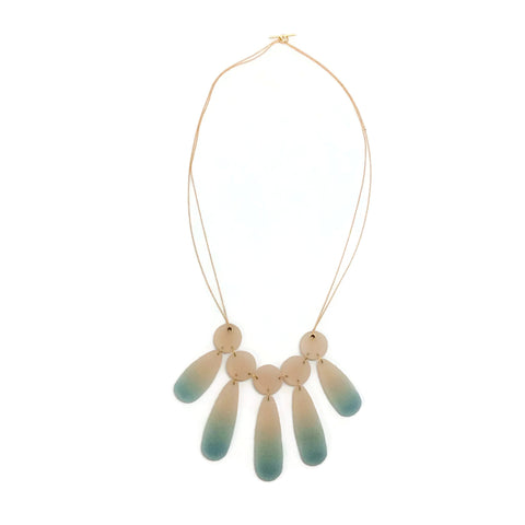 Aqua / Ivory Resin Drop Necklace