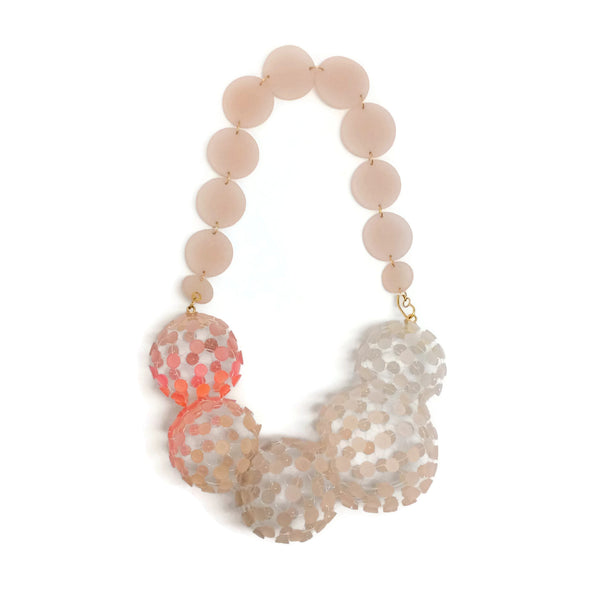Pink Ivory Resin Ball Statement Necklace