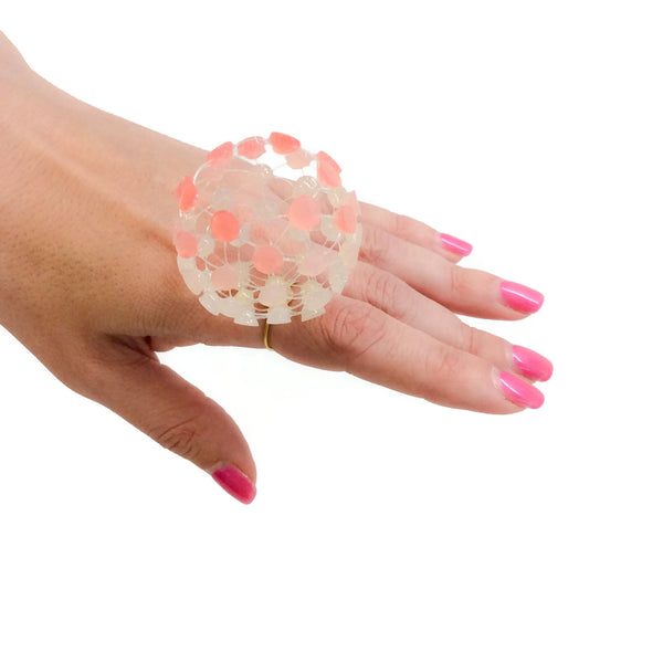 Ivory / Pink Resin Ball Statement Ring