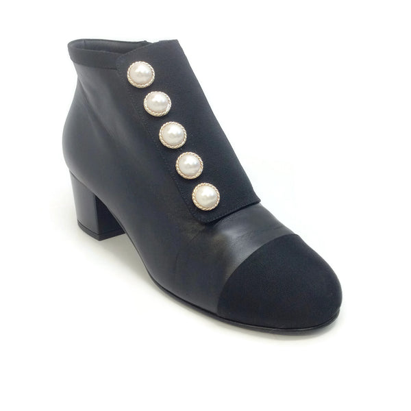 Chanel Black Pearl and Grosgrain Ankle Boots