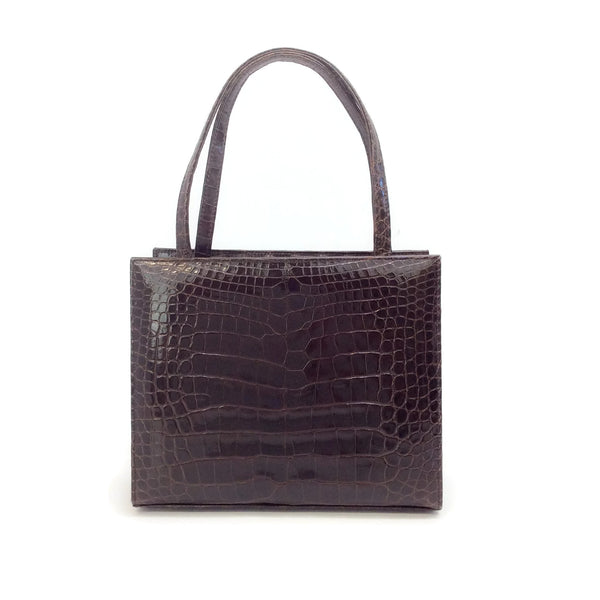 Lambertson Truex Dark Brown Crocodile Skin Leather Mini Square Satchel