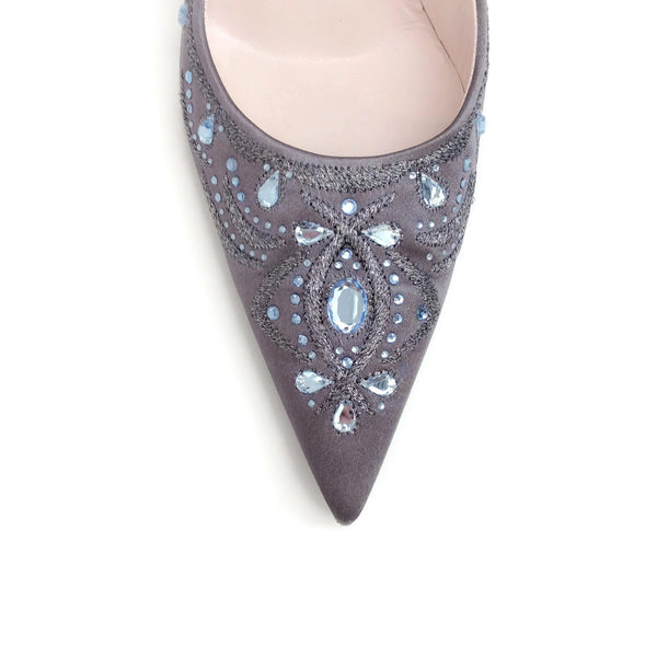 Sergio Rossi Grey Jeweled Crystal Pumps