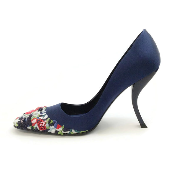 Roger Vivier Navy Satin Embroidered Toe Pumps