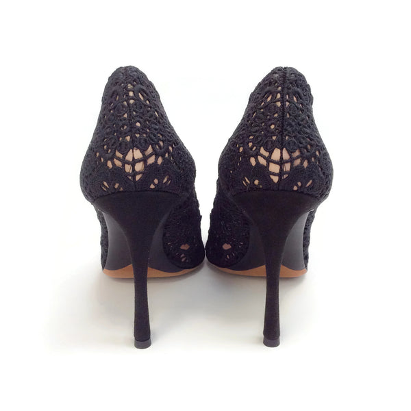 Tabitha Simmons Black Patch Crochet Pumps