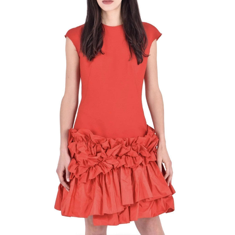 Alexander McQueen Red Ruched Hem Dress