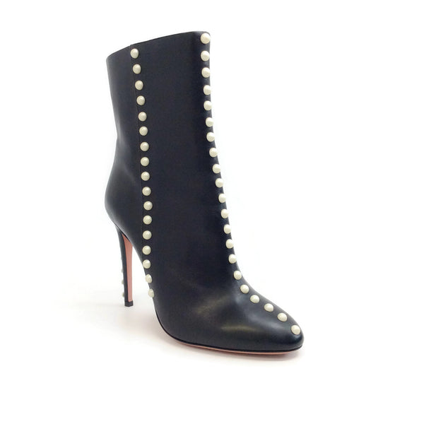 Aquazzura Black Follie Pearls 105 Boots