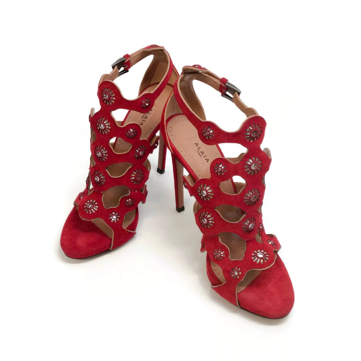 ALAÏA Red Floral Mirror Embellished Pumps