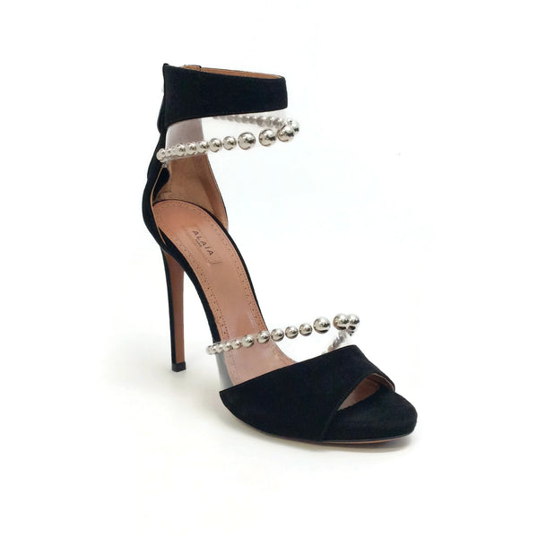 ALAÏA Black Suede Silver Bead Embellished Sandals