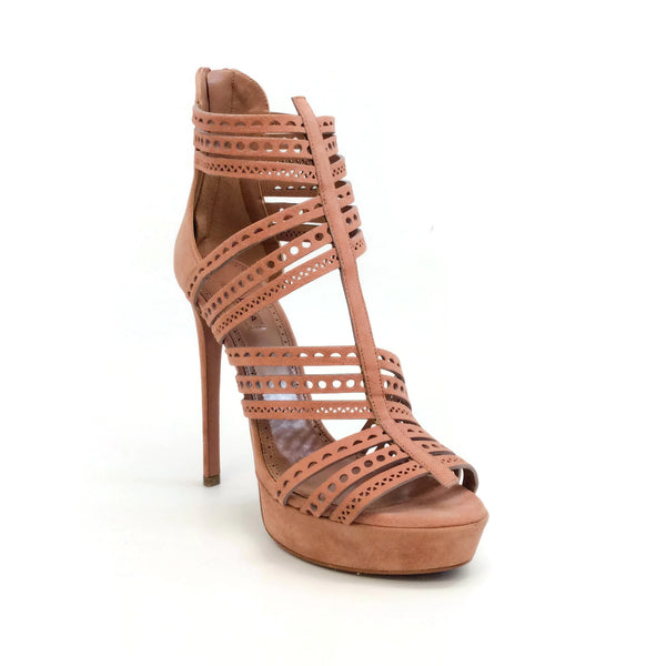ALAÏA Blush Suede Lasercut Cage Pumps