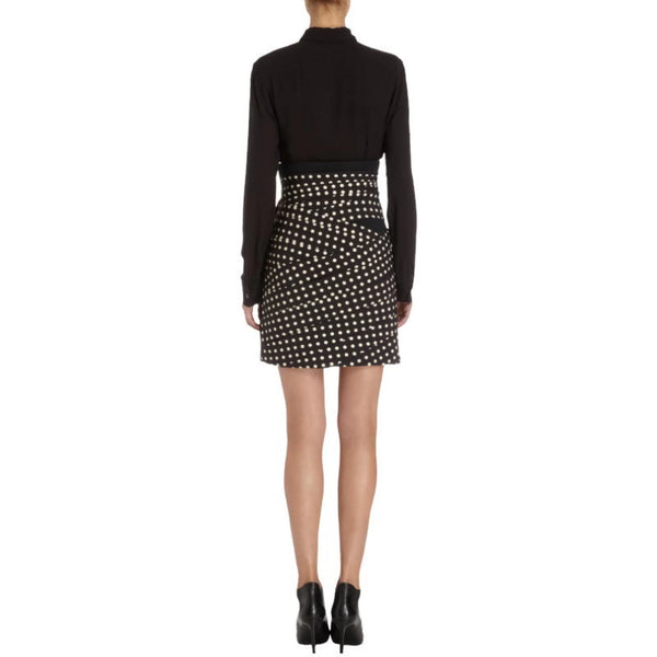 Emanuel Ungaro Black Polka Dot Pleated Miniskirt