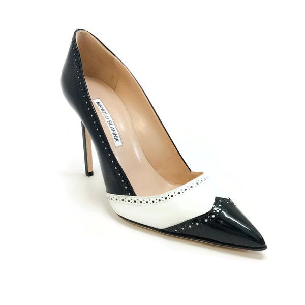 Manolo Blahnik Black / White Agatapu 105 Pumps