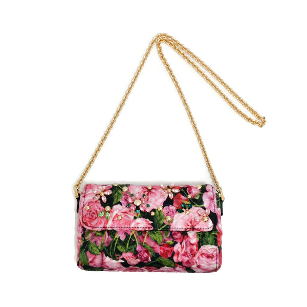 Dolce&Gabbana Rose Small Flap Nero Silk Shoulder Bag