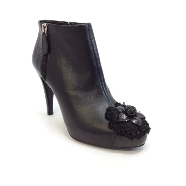 Chanel Black Camellia Boots