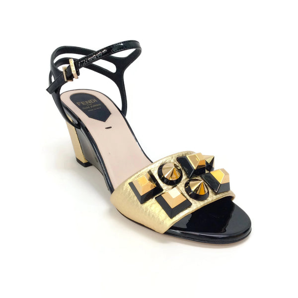 Fendi Gold / Black 8x6441 Studded Wedge Sandals