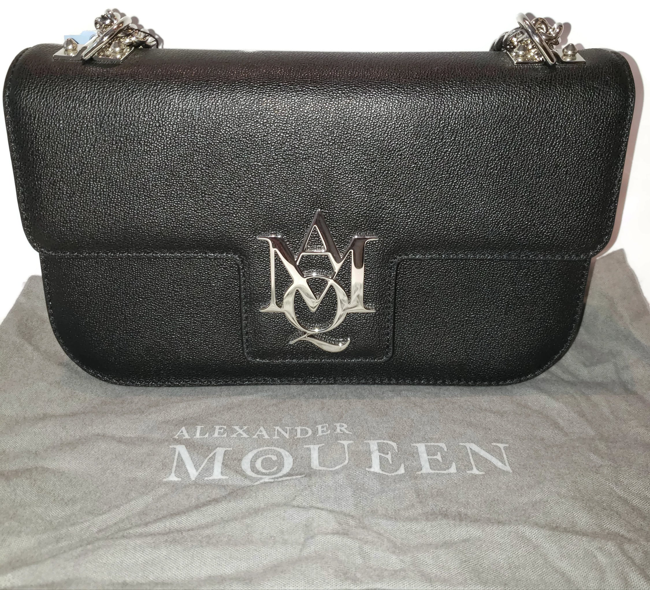 Alexander McQueen Insignia Small Chain Black Leather Shoulder Bag