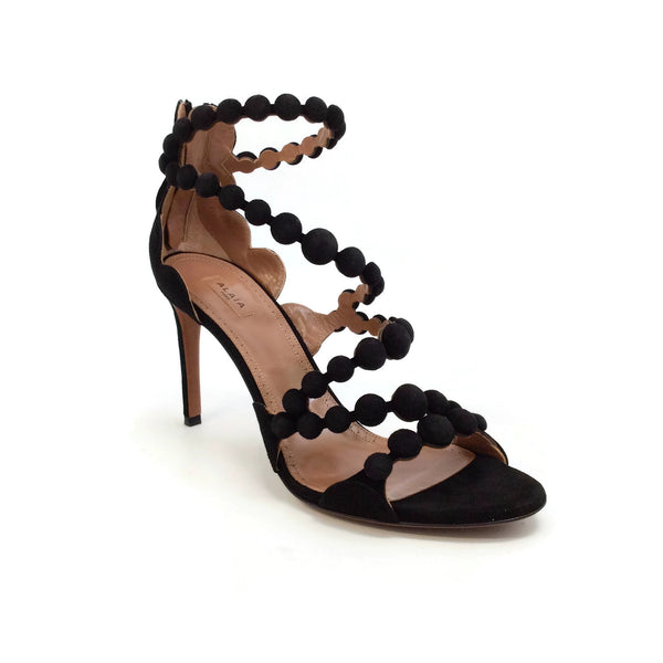 ALAÏA Black Suede Ball Trim Sandals