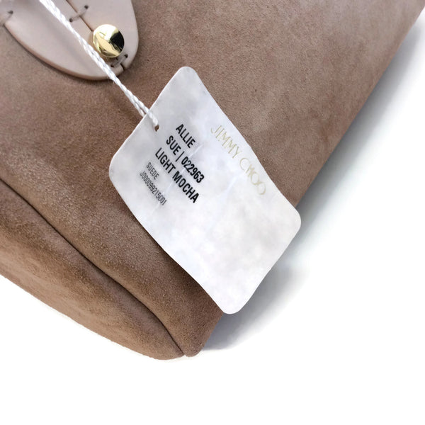Jimmy Choo Allie Light Mocha Suede Satchel