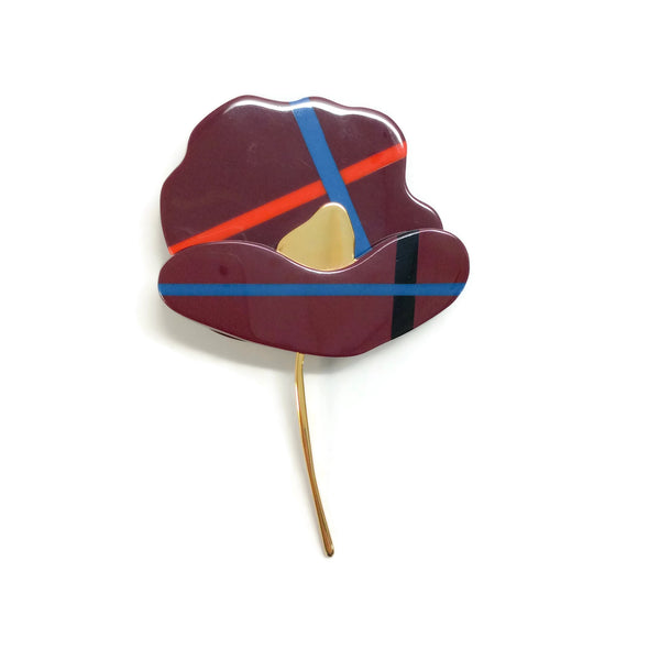 Marni Dark Red / Multi Flower Brooch