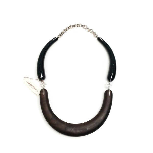 Marni Black Wood And  Resin Necklace
