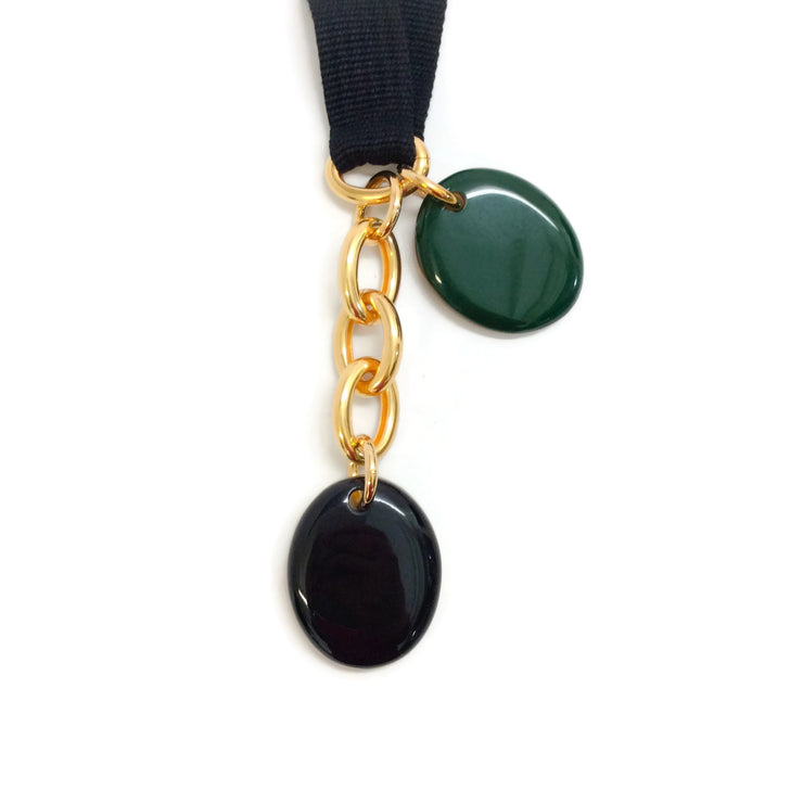 Marni Green / Black Oval Embellished Necklace