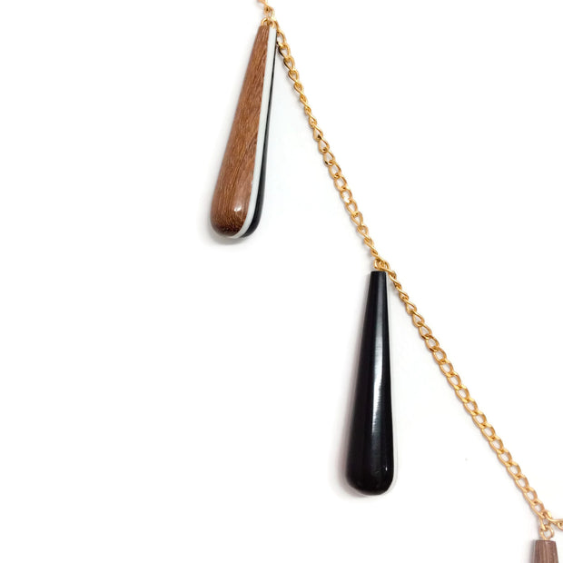 Marni Black / Wood Dangle Decor Necklace
