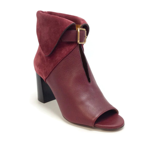 Chloé Sienna Red Fold Over Buckle Boots