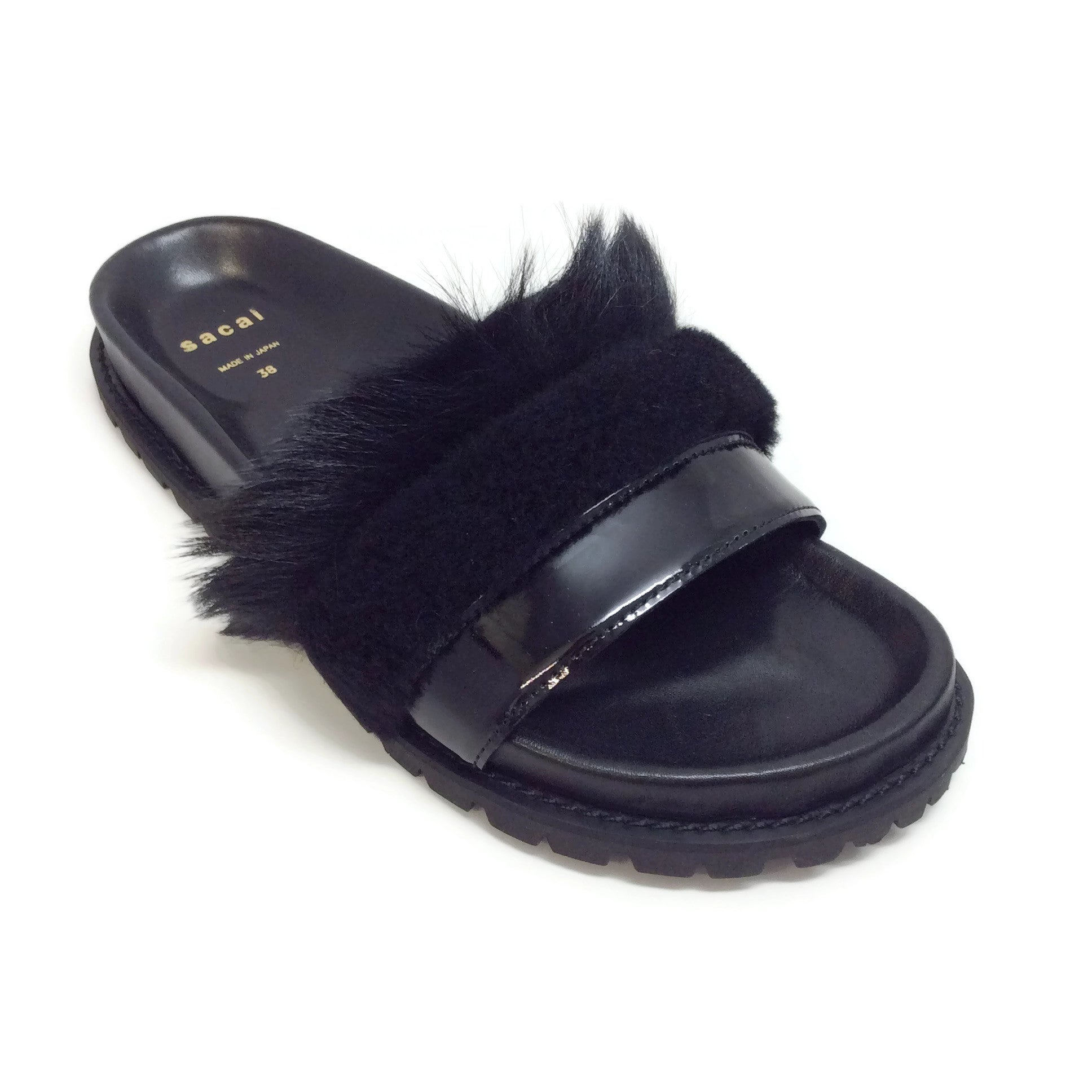 sacai Black Lamb Fur Slides