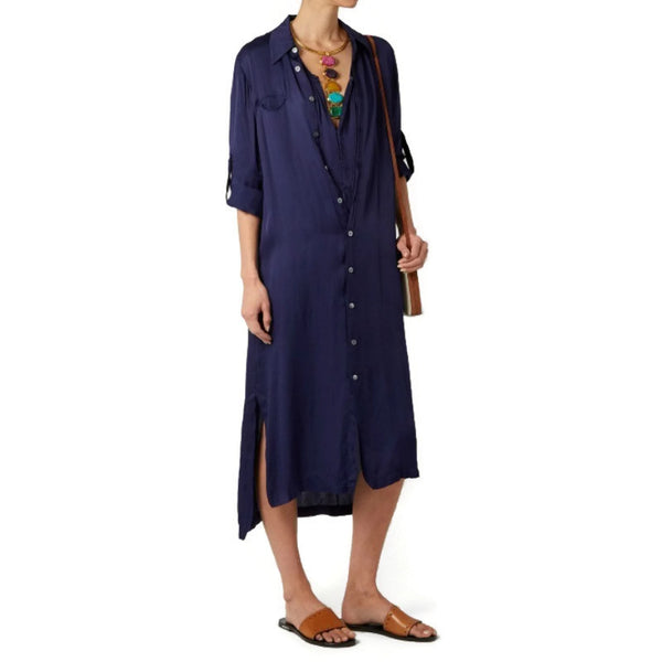 Raquel Allegra Navy Blue Shirt Dress