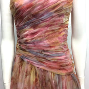 Murray Arbeid Pink Multi Vintage Shirred Chiffon Dress