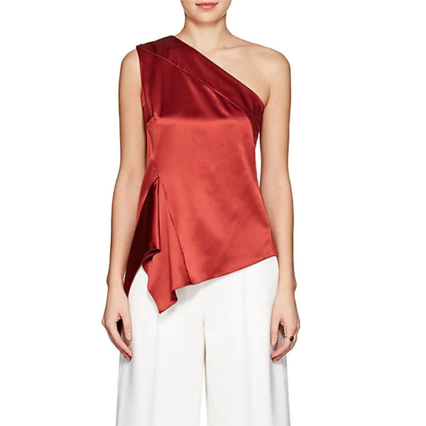 Narciso Rodriguez One Shoulder Handkerchief Hem Red Top