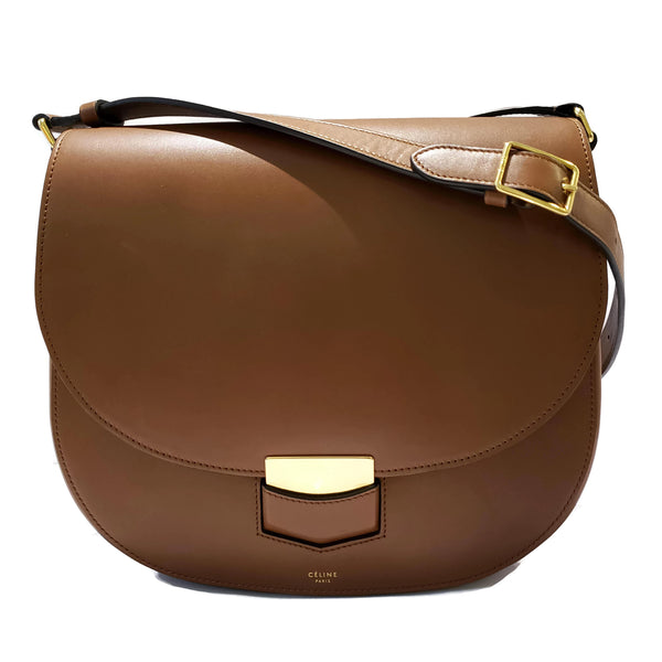 Céline Trotteur Medium Brown Leather Shoulder Bag