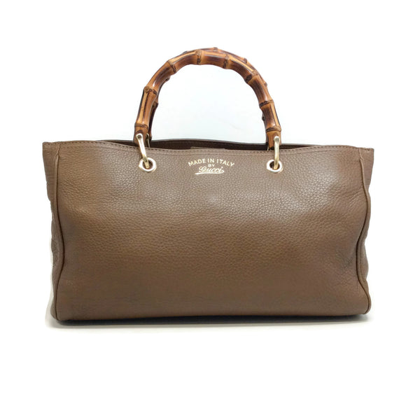 Gucci Bamboo Handle Brown Leather Satchel