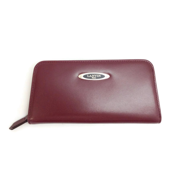 Lanvin Burgundy Long Zippered Wallet
