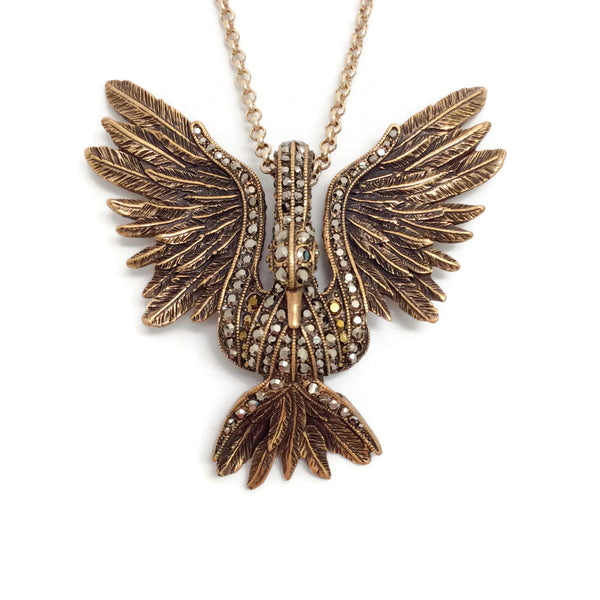 Lanvin Aged Gold Swan Necklace