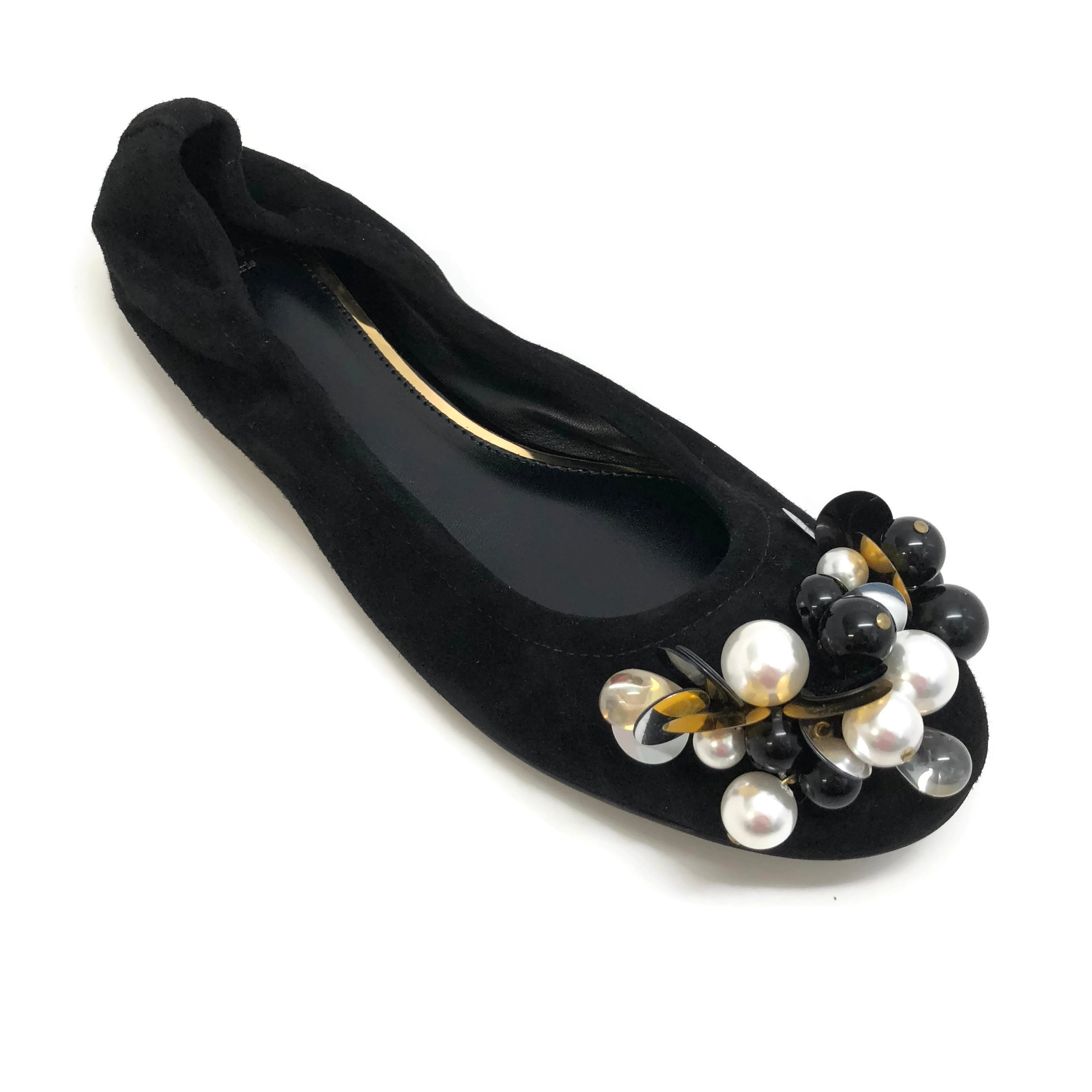 Lanvin Black Pearl Embellished Slipper Flats