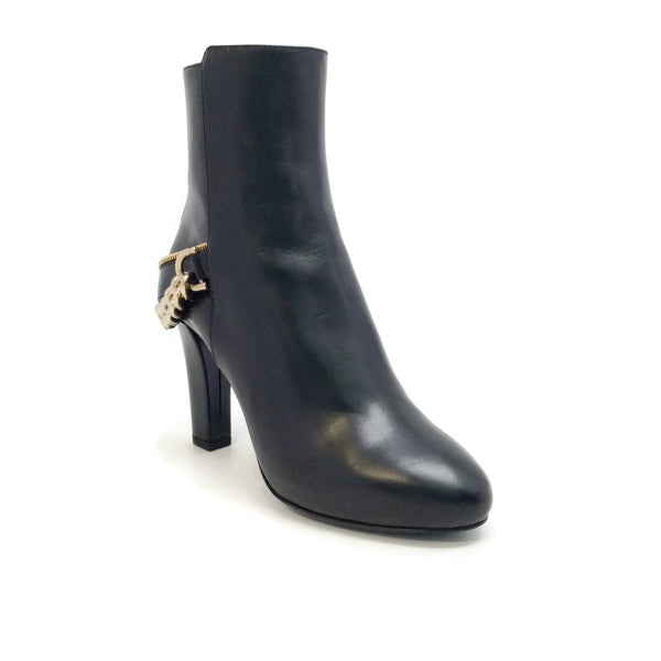 Lanvin Black Chain Detail Ankle Boots