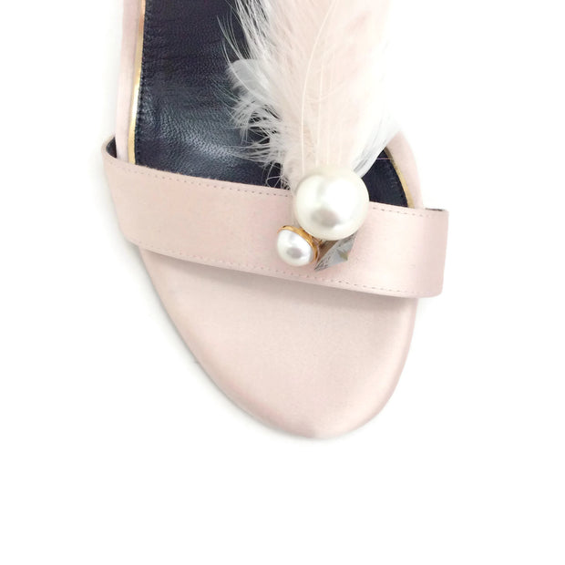 Lanvin Light Pink Satin and Feather Sandals